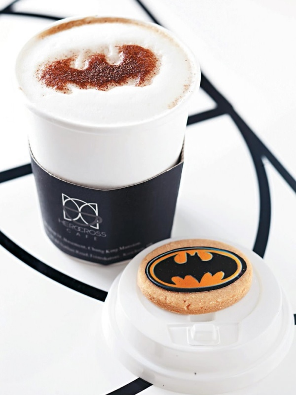 Batman Cappuccino and Batcookie