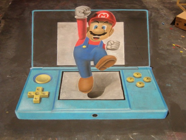 Chalk Art Super Mario Jumping Out of a Nintendo 3DS 01