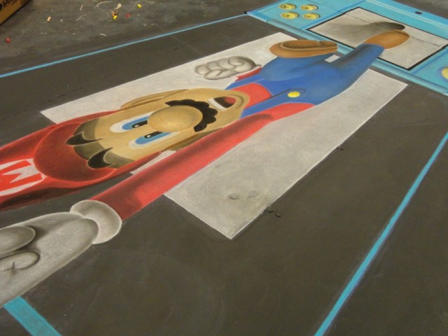 Chalk Art Super Mario Jumping Out of a Nintendo 3DS 02