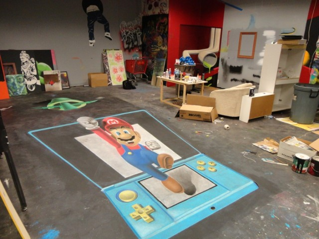 Chalk Art Super Mario Jumping Out of a Nintendo 3DS 03