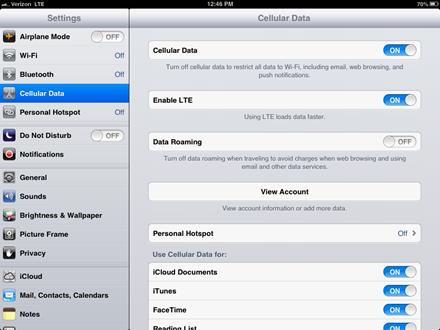 LTE on iPad mini